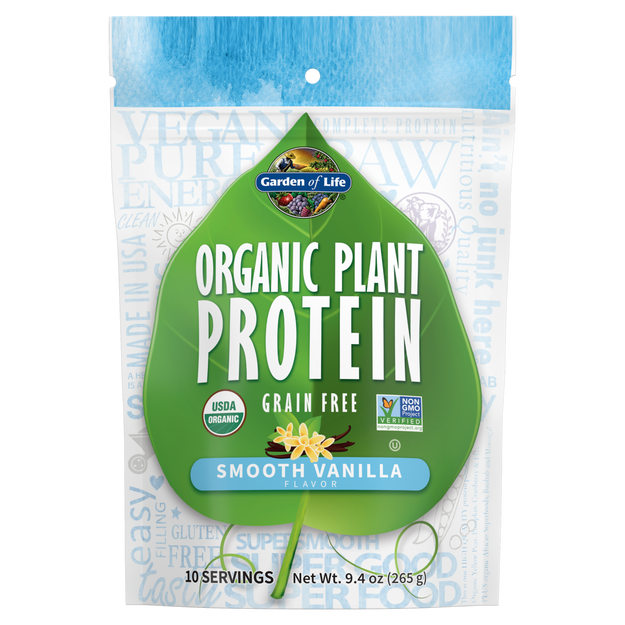Garden of Life - Organic Plant Protein Smooth Vanilla 9.4oz (265g / 10 servings) Powder - $2.24/serving*