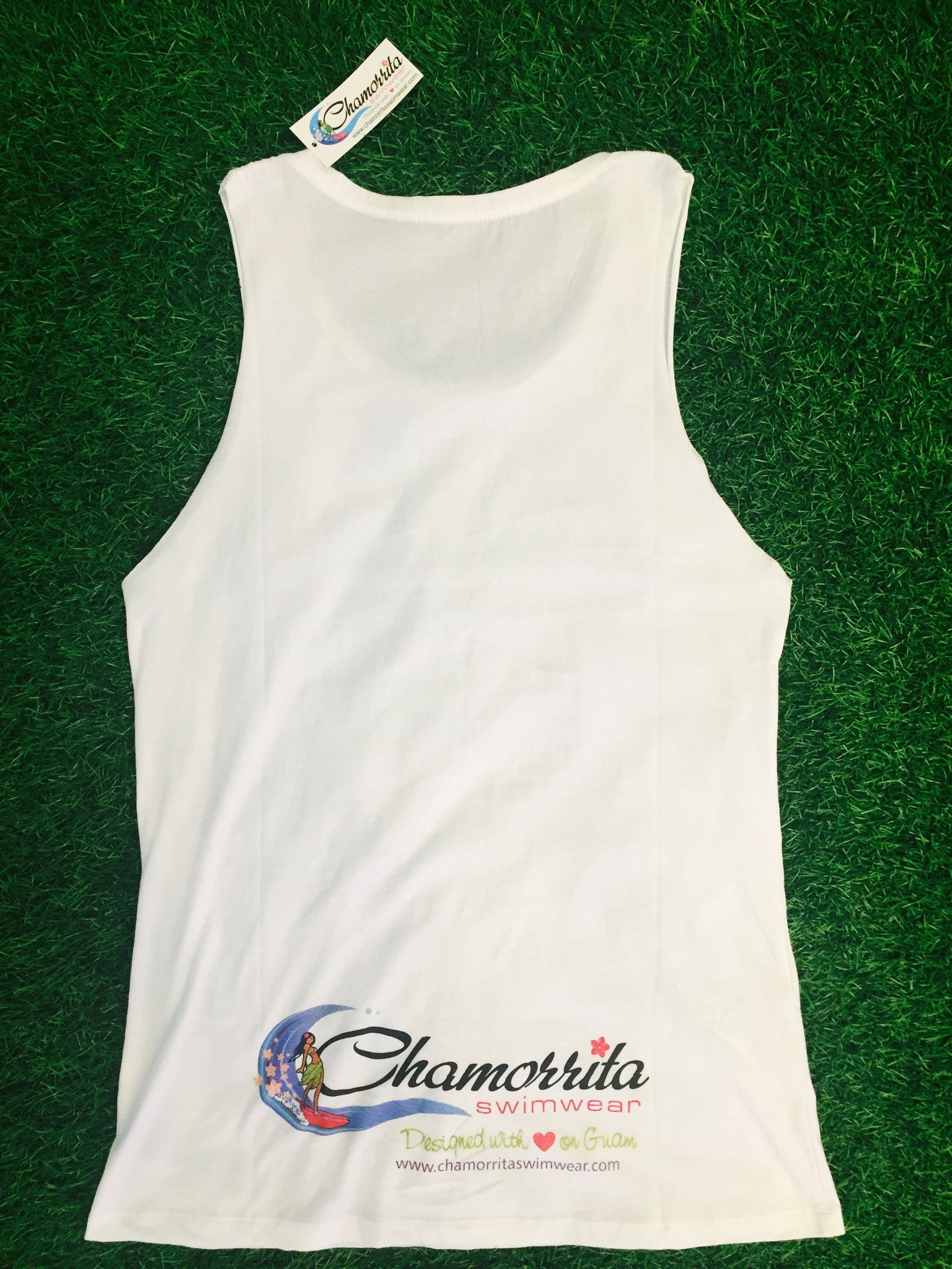 White Logo Tank Top Long