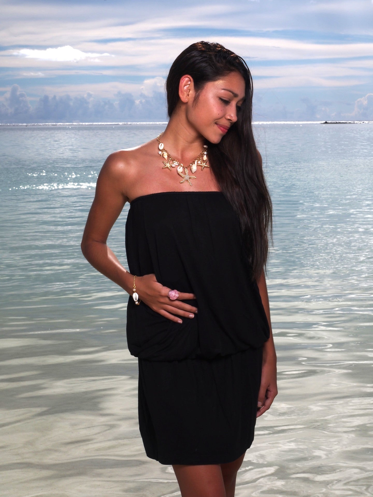 Chamorrita Swimwear Short Dress. Vida Local Ocean Shell Jewelry. Photos by Norman Taruc.  Model Markisha Lunschin.