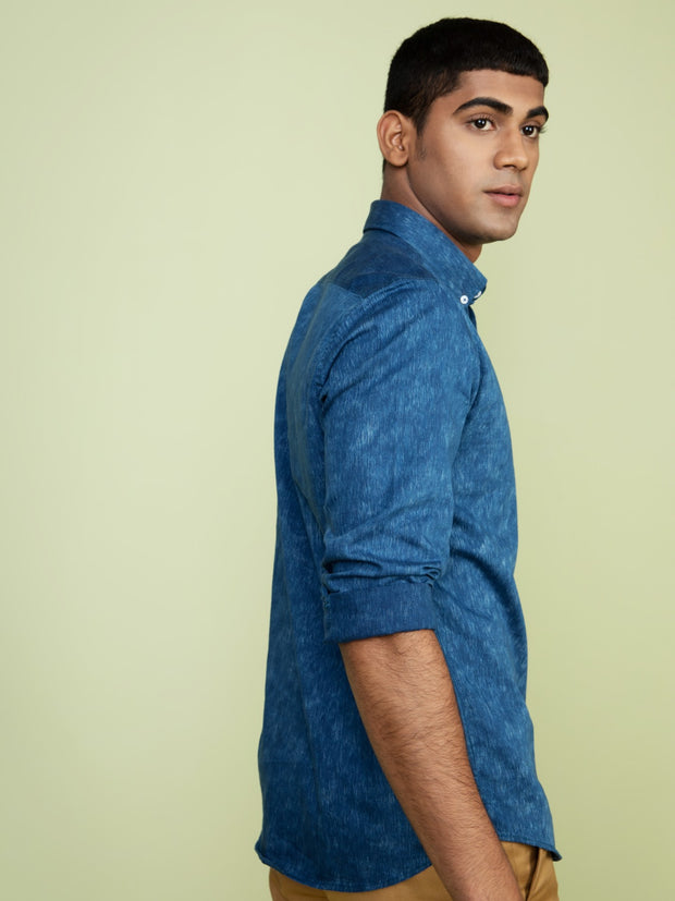 Medium Blue Washed Denim Shirt For Men