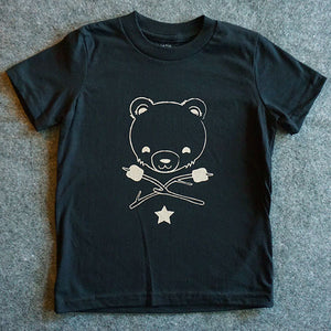 Cub & Star Kids Tee - Obsidian Black