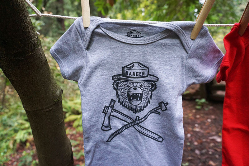Danger Ranger Bear Kids Baby Lap Tee MONOCHROME- Moon Rock Gray
