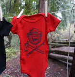 Danger Ranger Bear Kids Baby Onesie MONOCHROME- Red Wagon