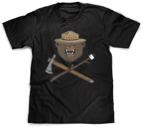 Danger Ranger Bear Kids Tee - Obsidian Black