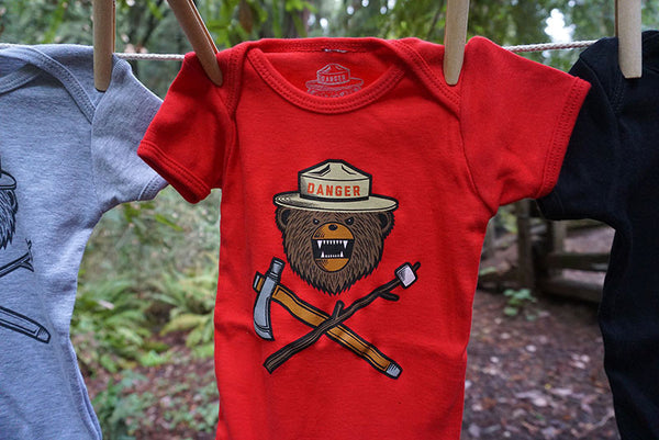 Danger Ranger Bear Kids Baby Onesie - Red Wagon Red