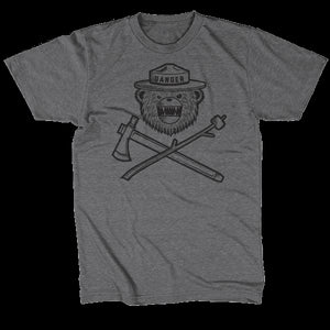 Danger Ranger Bear Kids Tee MONOCHROME- Granite Gray