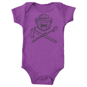 Danger Ranger Bear Baby Onesie MONOCHROME- Orchid Purple - SHIPPING WEEK OF 3/22