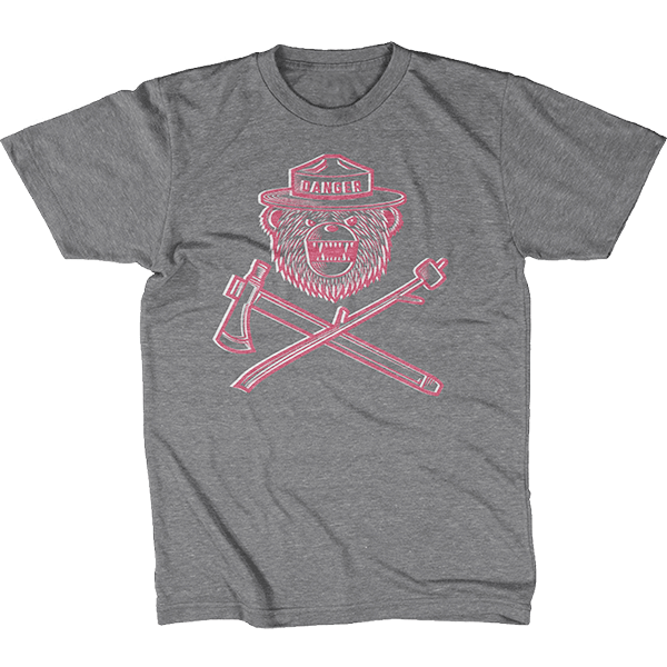 Danger Ranger Bear Kids Tee Granite Gray DUOCHROME- Rose Pink & White