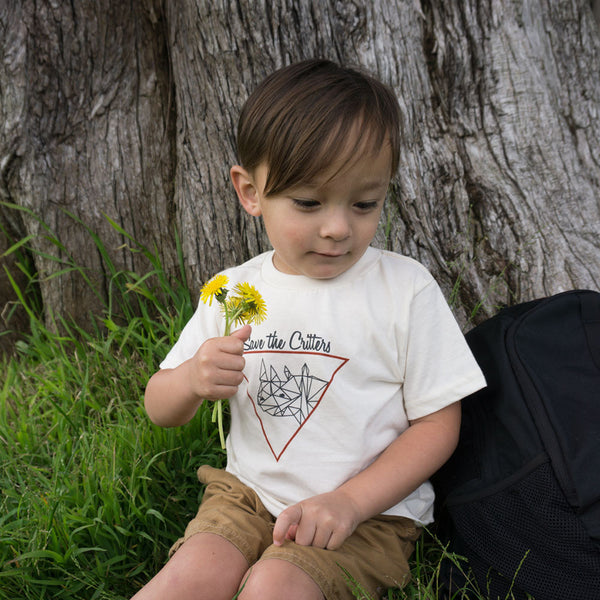 Save The Critters Rhino Kids Tee - Ivory