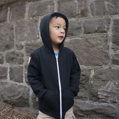 The Hook and Loop Hoodie™ - Kids in Obsidian Black