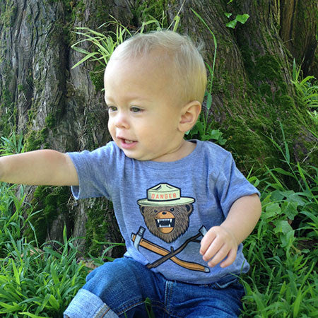 Danger Ranger Bear Baby Tee - Granite Gray
