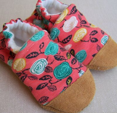 Teal Roses on Coral Organic Slippers