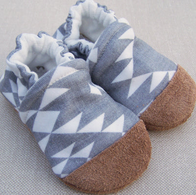 Grey Aztec Organic Slippers