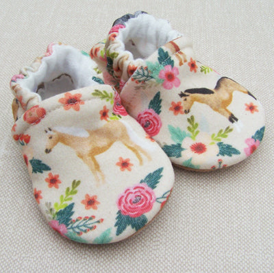 Floral Horse Organic Slippers