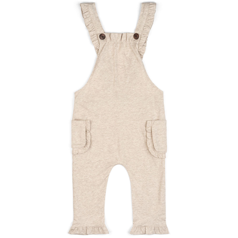 Milkbarn Kids RUFFLE Overall Heather Oatmeal