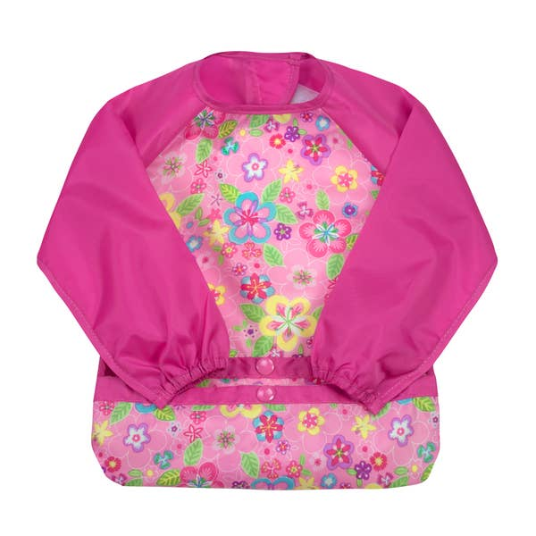 Snap + Go® Easy-wear Long Sleeve Bib Pink Flower Field