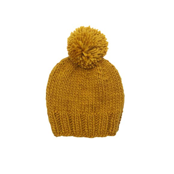 Single Pom Hat - Mustard