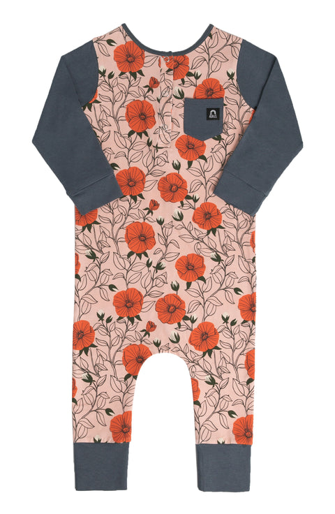 Long Sleeve Placket Henley Pocket Rag - Peach Floral