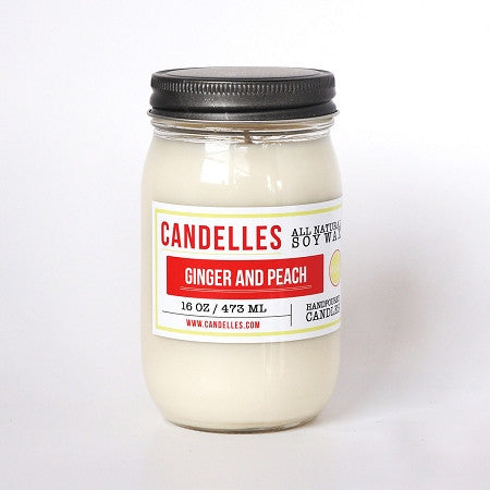 Candelles 16 oz All Natural Soy Wax Candle Ginger and Peach - Lil Tulips