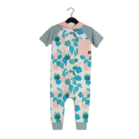 Short Sleeve Raglan Big Pocket Hooded Rag Romper - Succulent Revival