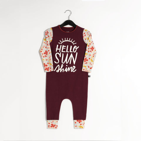 Long Sleeve Rag Romper - 'Hello Sunshine' - Windsor Wine