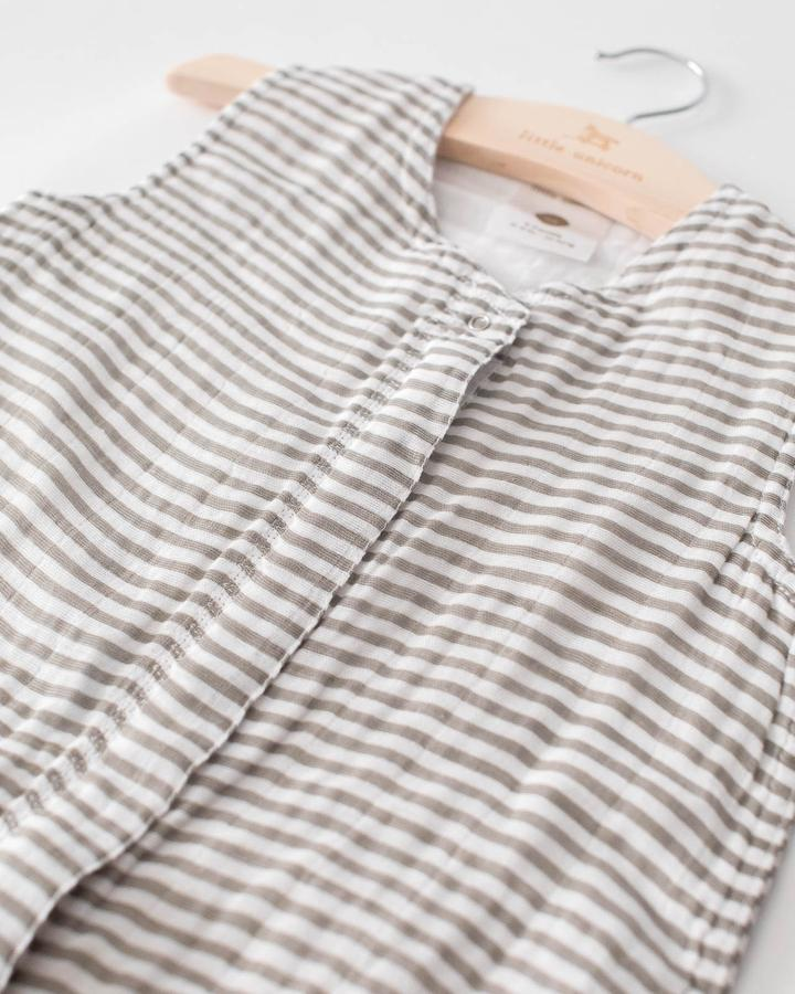 Grey Stripe Cotton Muslin Sleep Bag