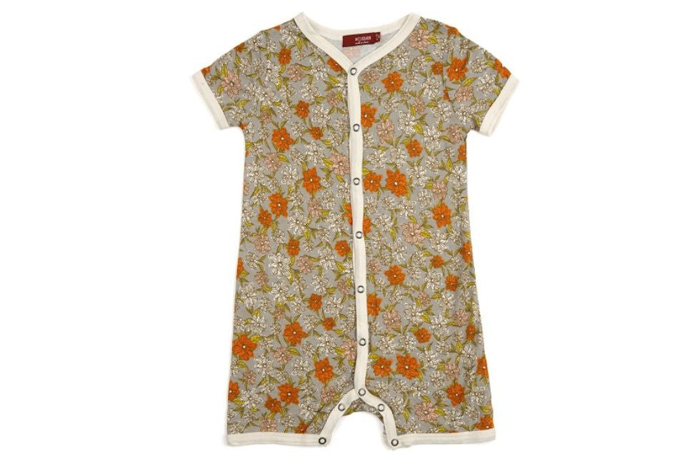 Grey Floral Bamboo Shortall