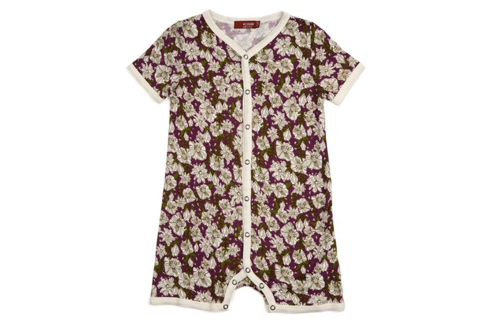 Purple Floral Bamboo Shortall