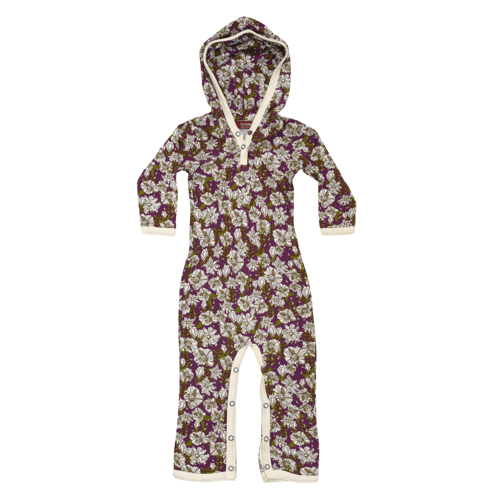 Purple Floral Bamboo Hooded Romper