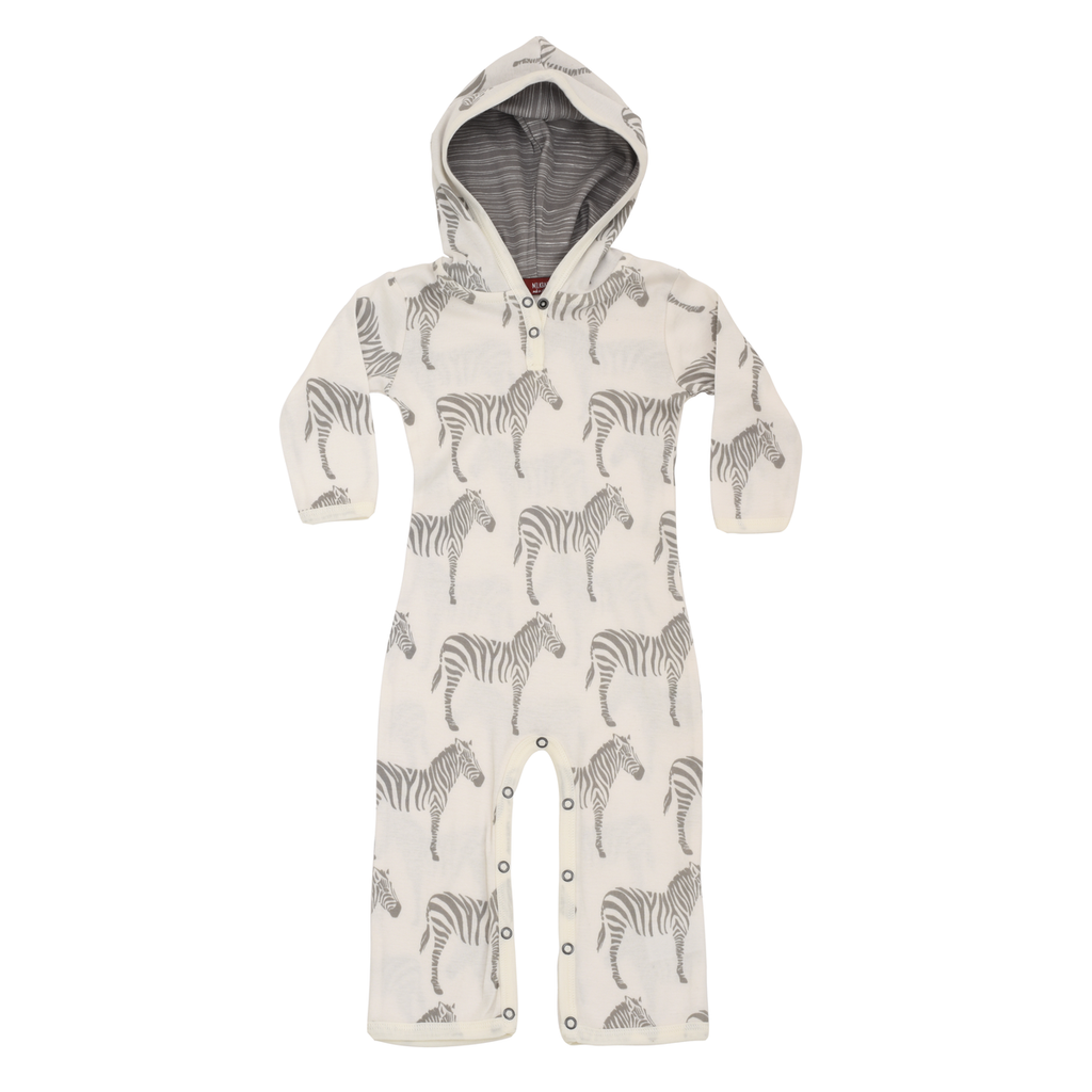 Grey Zebra Hooded Romper