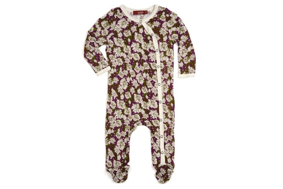 Purple Floral Bamboo Footed Romper
