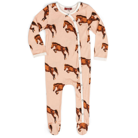 Horse Organic Footed Romper
