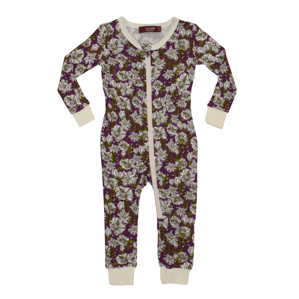 Purple Floral Bamboo Zipper Pajama