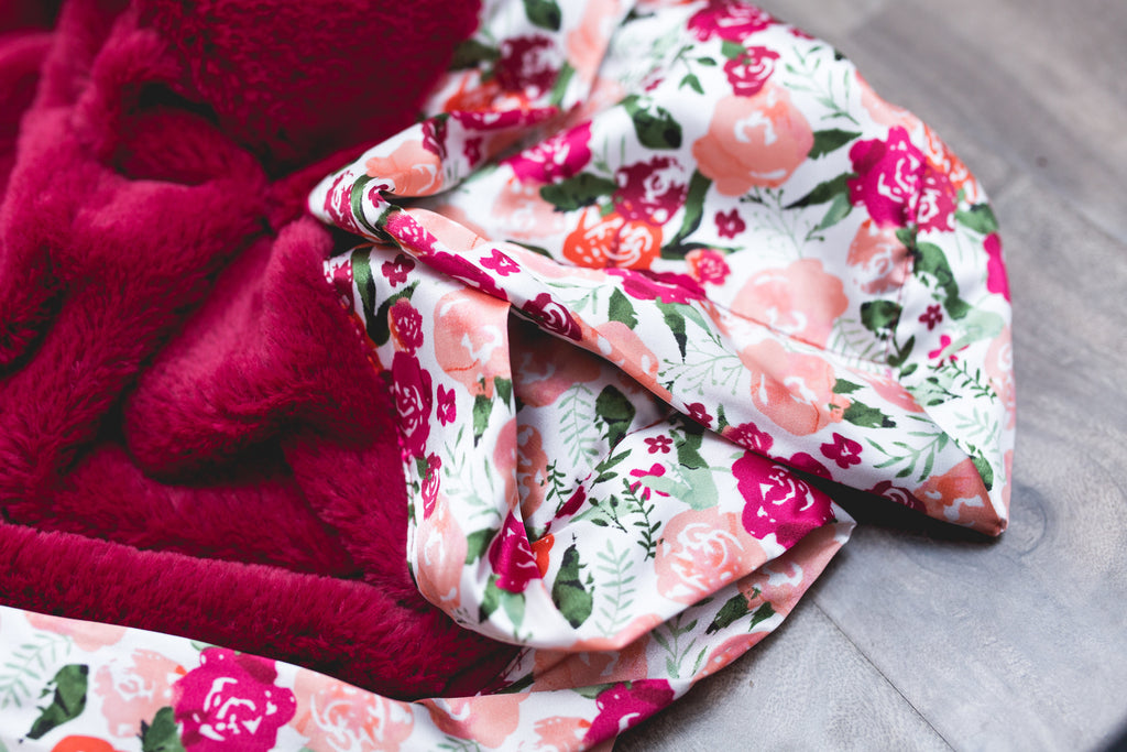 Raspberry Lush/Floral Satin Back Receiving Blanket