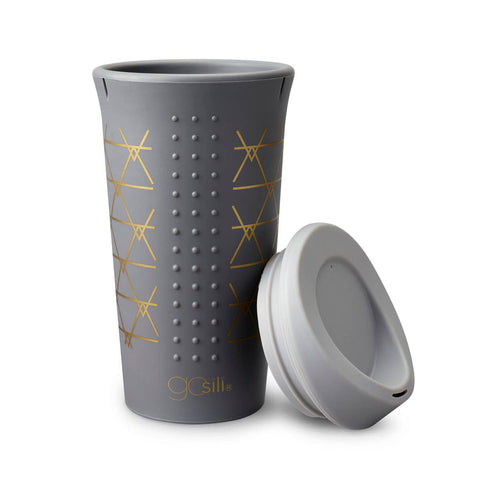 Silicone 16oz To-Go Cup Gold Triangles on Dark Grey