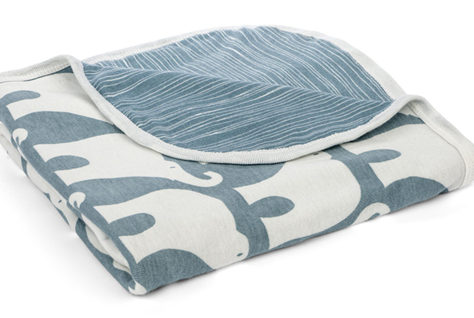 Stroller Blanket Blue Elephants