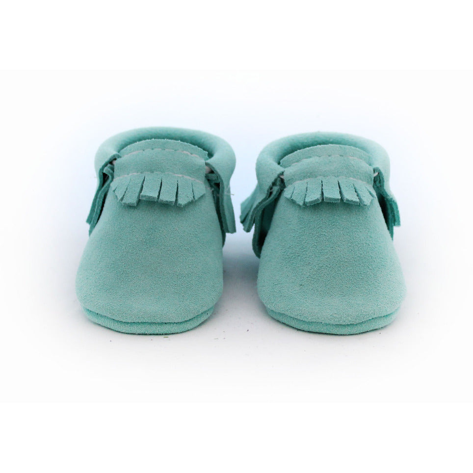 The Coral Pear Classic Moccasins Mint Suede - Lil Tulips - 1