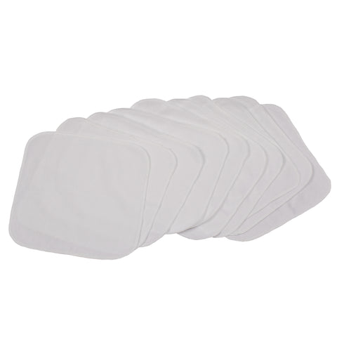Solid White Quilted Cotton Reusable Wipes