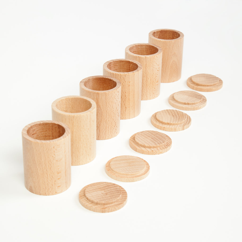 Set of 6 Natural Cups with Covers