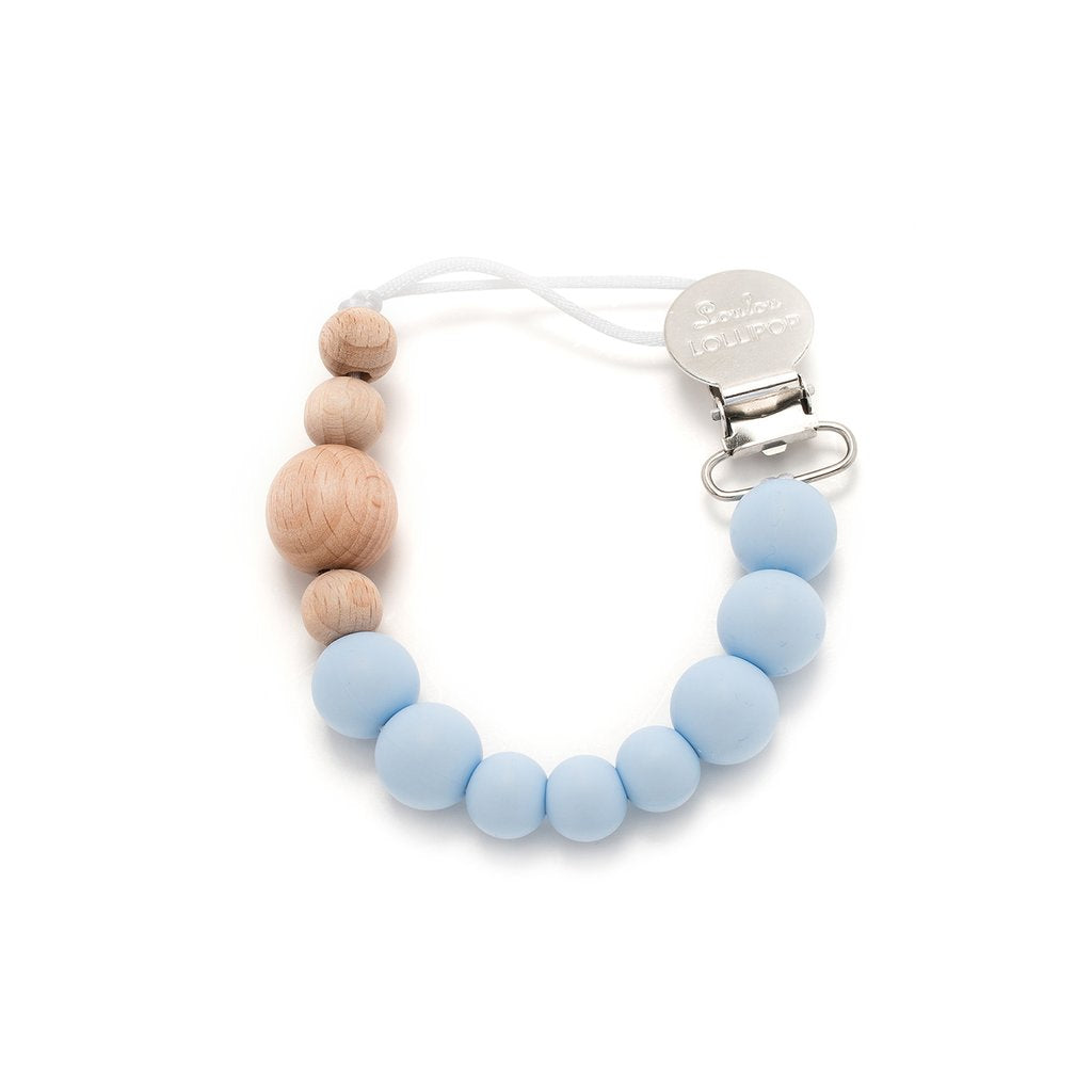 Colour Block Silicone & Wood Pacifier Clip - Baby Blue