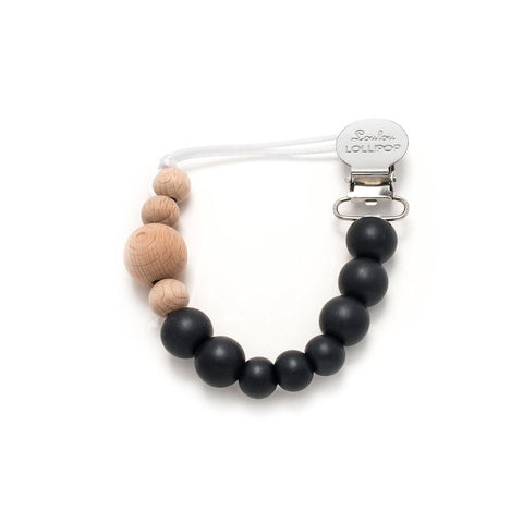 Colour Block Silicone & Wood Pacifier Clip - Midnight Black