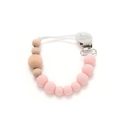 Colour Block Silicone & Wood Pacifier Clip - Delicate Pink