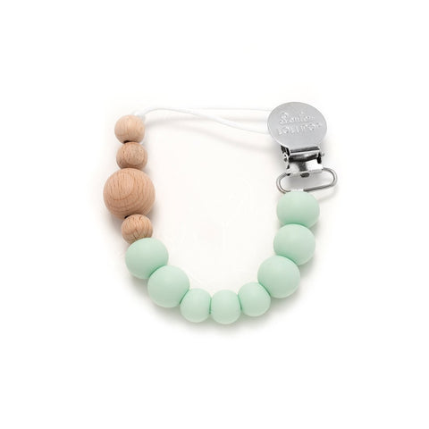 Colour Block Silicone & Wood Pacifier Clip - Mint