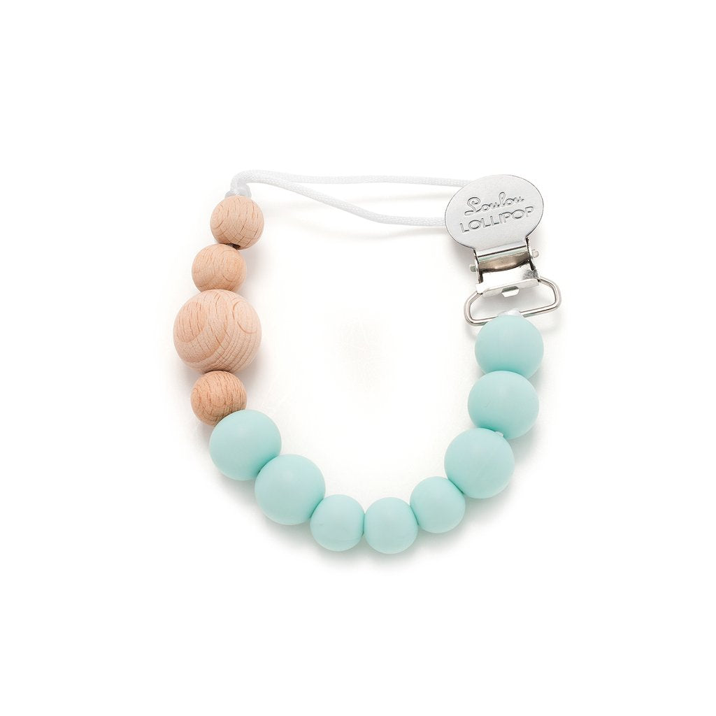 Colour Block Silicone & Wood Pacifier Clip - Robin's Egg Blue