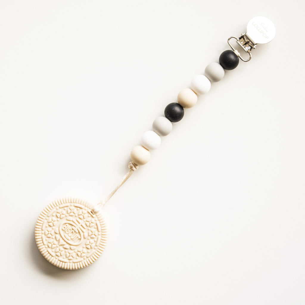 Cream Cookie Teether w/Neutral & Black Clip