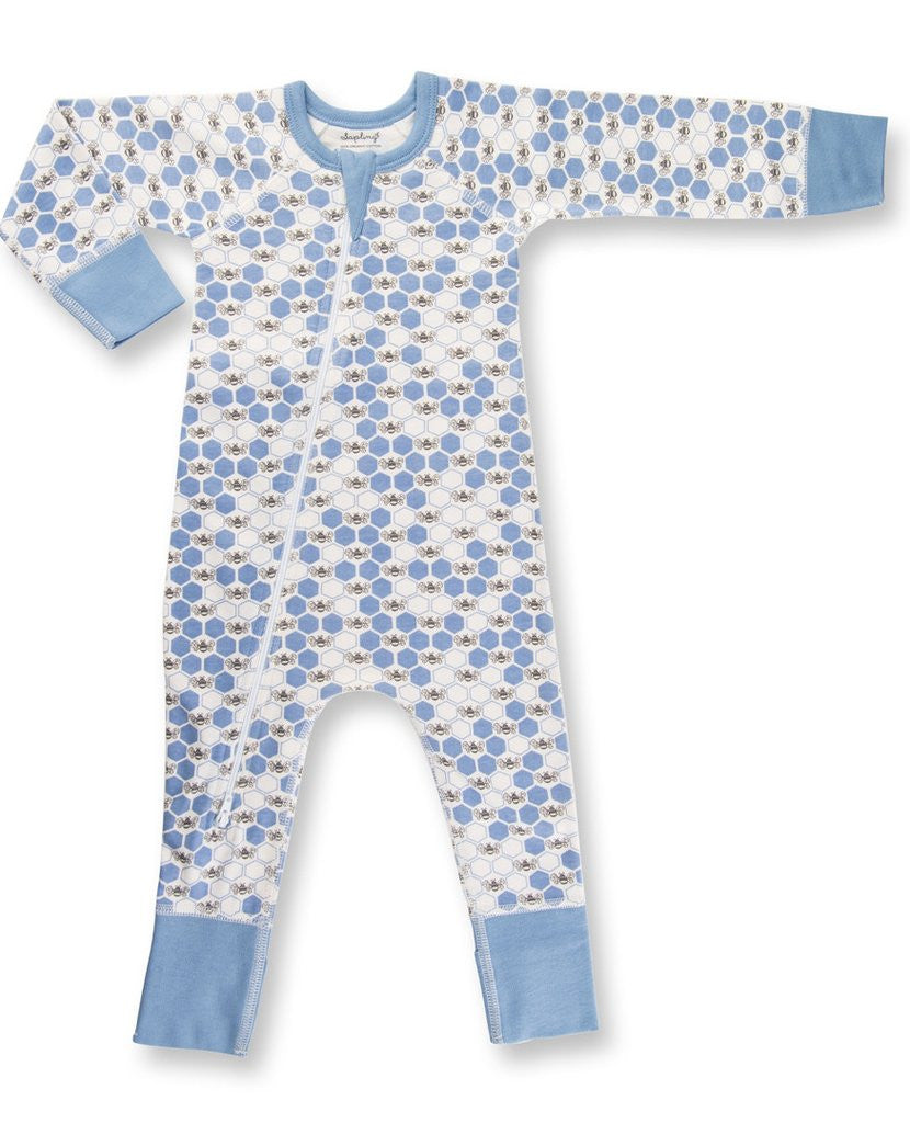 Cornflower Blue Bees Zip Romper