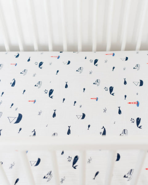 NAUTICAL HARBOR Cotton Muslin Crib Sheet