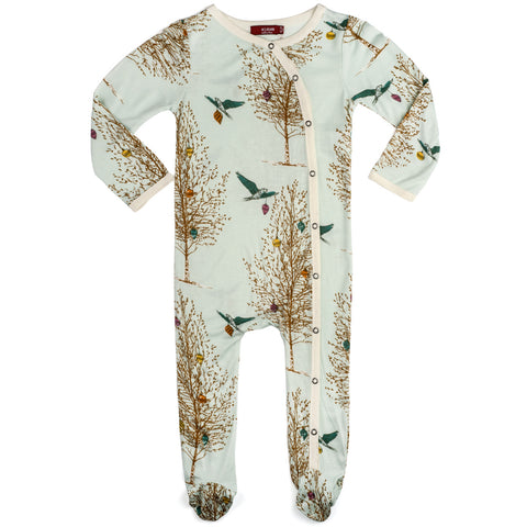 Christmas Birds Bamboo Footed Romper