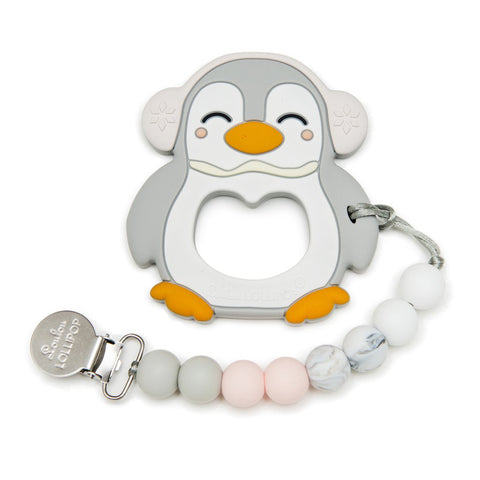 Gray Penguin Silicone Teether Holder Set