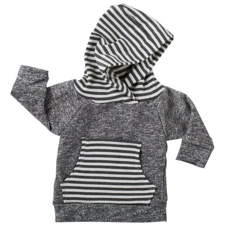 Lulu and Roo Dark Gray & Gray Stripe Hoodie
